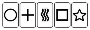 Le carte Zener utilizzate per gli esperimenti di telepatia.